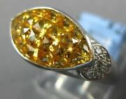 3.98ct Diamond And Aaa Yellow Sapphire 18kt White Gold 3d Heart Marquise Love Ring