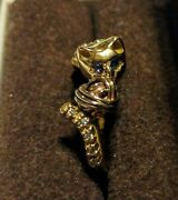 Estate Custom 14kt Kitty Cat Diamond And Sapphire Ring With Appraisal