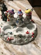 Snowbell Tealight/pillar Candle Holder Partylite Snowman Christmas Tree Holiday