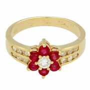 18carat Yellow Gold Ruby And Diamond Daisy Cluster Ring Size J 8mm Diameter Head