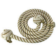 36mm Natural Cotton Beige Wormed Bannister Rope 12 Ft C/w 4 Brass Fittings