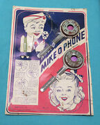 Dvintage Mike O Phone Toy Microphone Telephone Communication Device On Orig Card