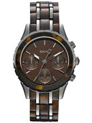 Dkny Ny8709 Chronograph Stainless Steel Case Tortoise Resin Women's Watch