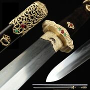 Tang Sword Hand Forged Multiple-refined Pattern Steel With Clay Tempered 030