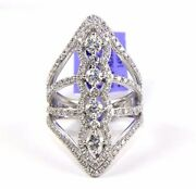 Natural Round Diamond Cluster Channel Long Ring Band 14k White Gold 2.18ct