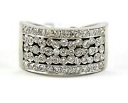 Round Diamond Cluster Bubbles Wide Ladyand039s Ring Band 18k White Gold 1.29ct
