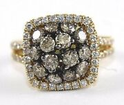 Fancy Color Brown Round Diamond Cluster Square Ring 14k Yellow Gold 2.10ct