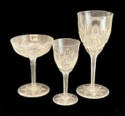 30pc Val St Saint Lambert Clear Cut Drink-ware Service For 10 Cane, Arch, Fan