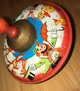 Vintage J Chein And Co Tin Metal Spinning Toy Circus Clown Rabbit Duck Wooden Top