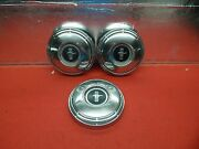 3 Used 68 Ford Mustang Black Crest Center 10 1/2 Wheelcovers Hub Caps
