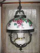 Beautiful Cast Iron Hanging Oil Lamp W Milk Glass Dome Hand Painted Shade - Rare