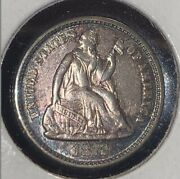 1872-p Seated Liberty Half Dime Toned High End Au With Luster
