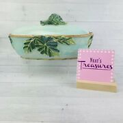 Fitz And Floyd Caprese Market Hand Crafted Light Blue Embossed Leaves Oval Bowl