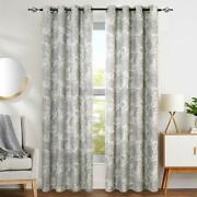 Classic Traditional Gray Jacobean Floral Scroll Curtains Panels Drapes Set 84