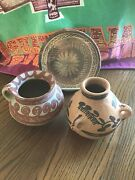 Vintage Mexican Pottery Lot Of 2 Vases And Plate Handmade, Hand Painted, Unglazed