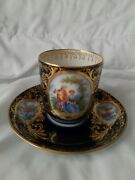 Dresden 1800and039s Karl Richard Klemm Chocolate Cup And Saucer Late Crown Rk