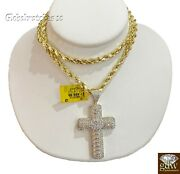 Real Diamond Cross With Solid 10k Rope Chain 20 22 24 26 28 Inch Vs Full Cut