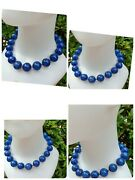 Jewelry Natural Stone Blue Lapis Lazuli Bead Silver Necklace Vintage Collectible