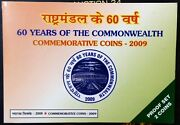 India Republic 2009 60 Years Of Commonwealth Proof Coins Set Of Rs. 100 And 10.