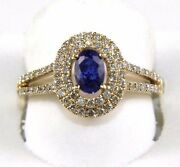 Oval Blue Sapphire And Diamond Halo Solitaire Bridge Ring 14k Yellow Gold 1.17ct