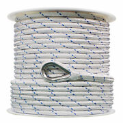 Extreme Max 3006.2529 Nylon Anchor Line W/thimble-1/2x800and039white W/blue Tracer