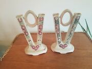 Pair Of Weller Pottery Roma V Shaped Double Bud Vases