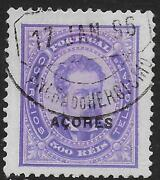 Portuguese Acores Stamps 1882 Yv 59a P.12 1/2 Canc Vf