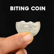 Magician's Biting Coin Bite And Restore Gimmick Old 1 Rupee Coin Real Magic Trick