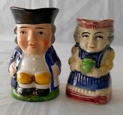 2 Vintage Small Toby Mugs Jug Man And Woman Made In Japan Porcelain