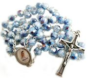 Catholic Blue Crystal Rosary Murano Glass Rosaries From Medjugorje + Gift Bag