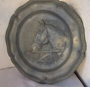 9 Pewter Horse Plate Equestrian Metal Wall Decor - Angel Marked Antique Vintage