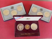 9 Coin 1983 And 1984 Gold And Silver Olympic Coin Sets, W/ First Gold W Mint Mark