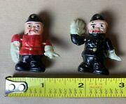 """2 Rare Vintage 1930s Celluloid Miniature 1.5"""" Bobby Cops Traffic Police Figures"""