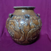 Real Old And Antique Chinese Ming Brown Glazed Dragon Pottery Jar