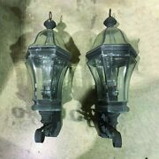 Two Traditional Outside Leaded Copper Porch Lanterns 12 X 30