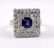 Natural Cushion Blue Sapphire And Diamond Solitaire Ring 14k White Gold 3.32ct