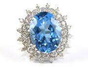 Natural Oval Blue Topaz And Diamond Halo Solitaire Ring 14k White Gold 24.75ct