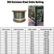 250/500/1000 Feet T316 Stainless Steel Cable Rail Wire Rope 1x19 7x19