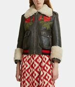 Flower Embroidered Shearling Leather Jacket In Brown Size 40 It