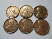 6 Coins Lincoln One Cent Wheatback Us Penny 95 Copper Circulated3x1957d1958d