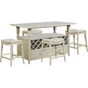 Kitchen Dining 5pc Counter Table Set W/ 22 Bottle Wine Storage Drawers 4 Stool