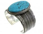 Ron Bedonie Lg. Kingman Turquoise Sterling Silver Navajo Signed 6.5