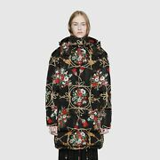 Padded Cape Coat With Flowers And Tassels 42it M