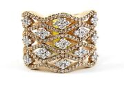Natural Round Diamond Bypass Criss Cross Wide Ring Band 14k Rose Gold 1.52ct