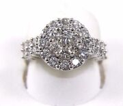 Natural Round Diamond Cluster Ladyand039s Ring 14k White Gold 1.60ct