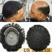 Afro Black Mens Toupee Lace Poly Around Afro Curl Hair Systems Units Hairpieces