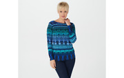 Linea By Louis Delland039olio Cathedral Print Knit Top Blue Medium A347493