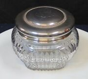 Vintage Antique American Cut Glass And Sterling Silver Powder Jar.