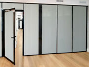 Cgp Office Partitions Frosted Glass Aluminum Wall 14and039x9and039 W/door Black Color