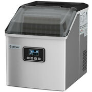 Stainless Steel Ice Maker Machine Countertop 48lbs/24h Self-clean Silver
